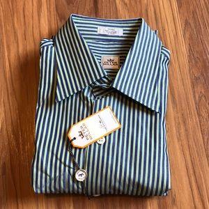 Peter Millar men's navy stripe long sleeve shirt